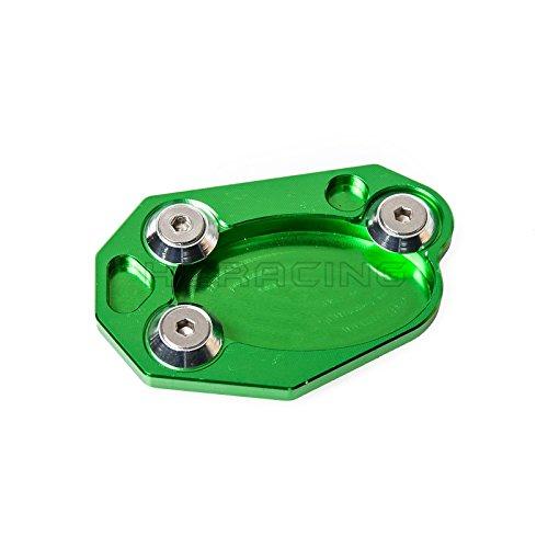 H2Racing Grün Motorrad Seitenständer Unterstützung Fuß-Verbreiterung Ständer Pad für Ninja ZX-6R ZX-10R 650/650R ER6N/ER6F,Z1000SX ER4N/4F Ninja 1000 400R Z800/Z1000 Versys 650