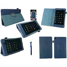 Emartbuy® Asus Google Nexus 7 2 II Tablet (Lanzado En Julio De 2013) Azul Azul Stylus + Pu De Cuero De Múltiples Funciones / Multi Angle Monedero / Cubierta / Soporte / Case Typing
