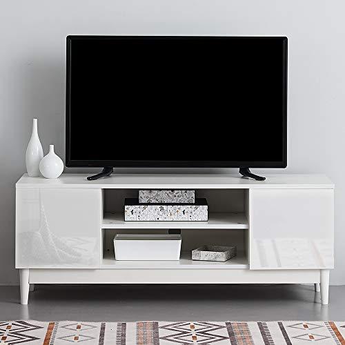 Ruication Moderner TV-Schrank weiß matt Korpus weiß Hochglanz Front TV-Ständer Sideboard Möbel für Wohnzimmer Schlafzimmer Büro 120 cm 120cm weiß -