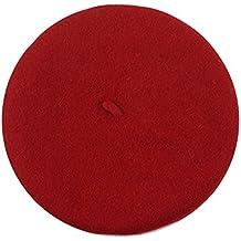 QHGstore La muchacha niños de los niños de lana boinas sólido sombrero caliente del bebé del color de la gorrita tejida del invierno boinas rojo 1