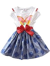 Star - Kurzarm Mädchen Sommerkleid mit Kleeblatt Rock und Schmetterling Druck
