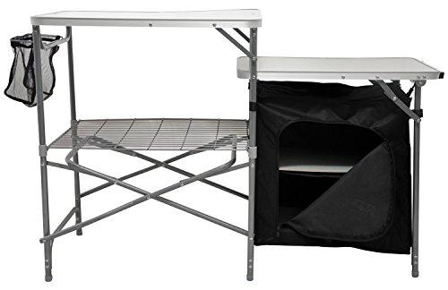 Andes - Campingküche - Tisch mit Arbeitsfläche und Staufach - Grau/Schwarz
