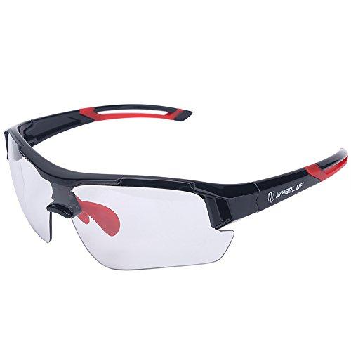 Tbest Photochrome Sonnenbrille Männer Frauen Radfahren Motorrad, klare Reiten Sonnenbrille Farbwechsel Objektive Winddicht UV Schutz Mountainbike Radfahren Gläser Outdoor Sport Sonnenbrillen(Rot)