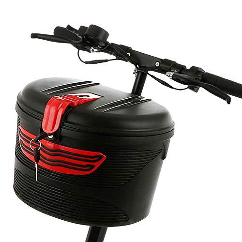 Zqirolt cestino porta biciclette elettrico, con serratura, vano portaoggetti anteriore in plastica per mountain bike black + red