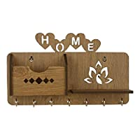 Product description Keep your entryway neat and tidy with this wall-mounted key holder. Featuring metal hooks for hanging keys, leashes and scarves, while a top slot creates storage for letters, sunglasses, wallets and cell phones, keeping the most i...