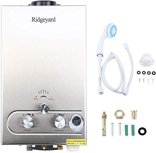 Iglobalbuy 8L LPG 2800Pa Durchlauferhitzer,16KW Warmwasserbereiter Wassersspeicher Boiler mit Duschkopf für Badezimmer Dusche