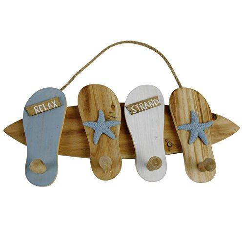Maritime Holz Wand Hakenleiste/Garderobenleiste, 28 x 43 x 5,5 cm (HxBxT), in Form eines Surfbrettes mit Vier Zehensandalen, 2 x dekoriert mit Seesternen, 2 x dekoriert mit Schild Relax/Strand.