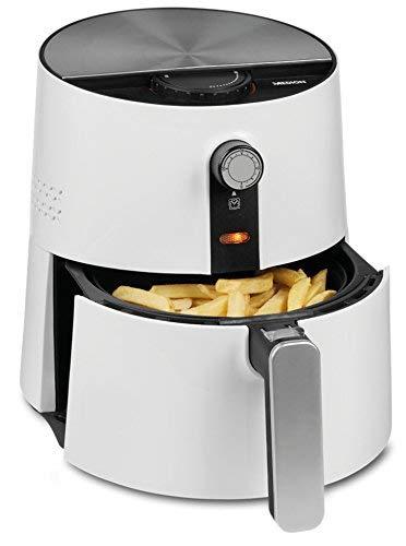MEDION Heißluftfritteuse 1400 Watt, 2,5 Liter, ölfreies Frittieren ohne Fett, Temperaturkontrolle bis 200°C, MD 17769, weiß