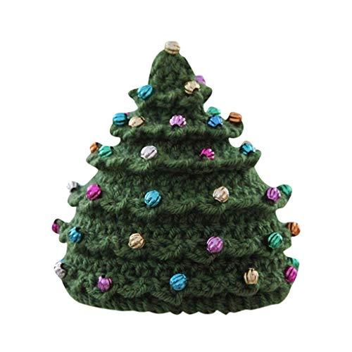 LOPILY Mütze Unisex Weihnachtsbaum Strickmütze Wintermütze für Weihnachten mit Bunte Kunst Perlen Weihnachtsmütze Herren Damen Lustig Weihnachten Dekoration Familien Weihnachtsbekleidung (Grün)