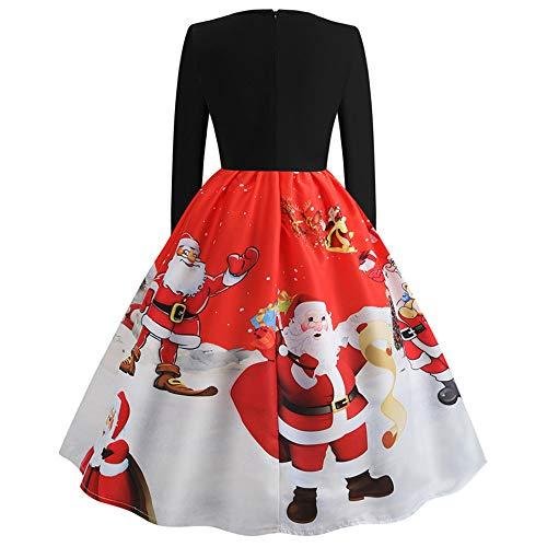 Damen Kleider Weihnachtskleid,Dasongff Elegant Christmas Dress,Frauen RundhalsVintage...