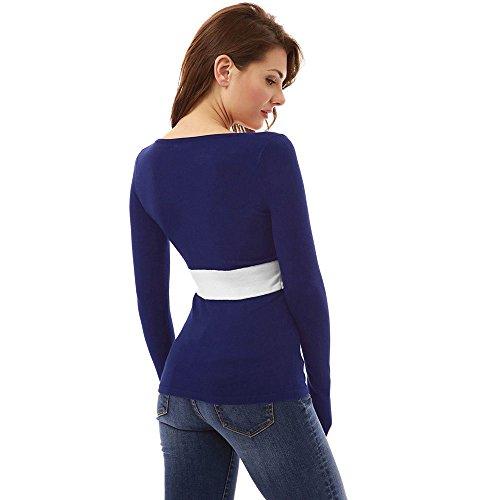 POachers T shirt a manica lunga con scollo a V a maniche lunghe con scollo a V da donna Blu