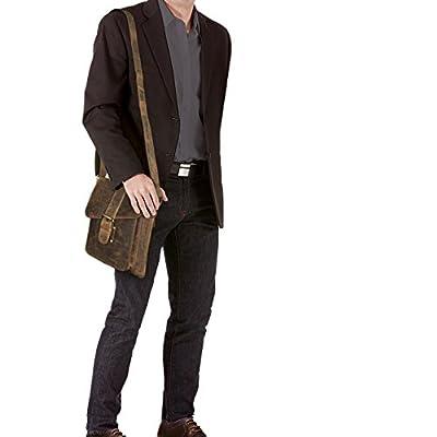 STILORD 'Mattia' Sac a Bandouliere petite pour hommes / Unisex / Besace / Messenger Bag / Housse pour Tablette-PC 10,1 pouces / porté lanière cuir de vachette cuir véritable