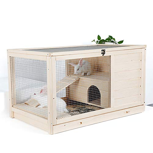 QNMM Häuser für Haustiere Holzgarten Hinterhof Hase Kleintierkäfig Kleintierkäfig Indoor Lounge