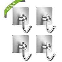 SKYEE 4 Pack Self Adhesive Hooks Heavy Duty 304 Stainless Steel Wall Hooks Strong Sticky Towel Hat Bathrobe Coat Hooks Hanger for Kitchen Bathrooms Door Lavatory Closets, No Nails/Waterproof
