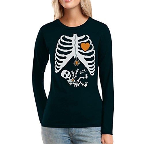 ges Halloween Outfit Kostüm Frauen Langarm-T-Shirt Large Schwarz (Schnelle Und Einfache Halloween Kostüm Ideen)
