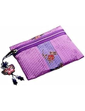 Elegante kleine Design Brieftasche für Frauen, Lila Farbe. Leicht und haltbar RamieStoff. Originalzubehör