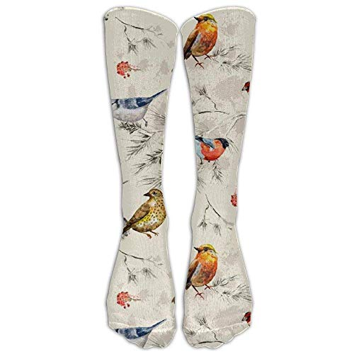 ncnhdnh Chinese Style Bird Women's Compression Socks Fashion Athletic Socks High Stockings Unisex Anti-Odor Running Long Sock