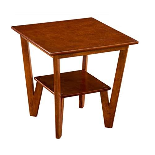 M-JH Table d'appoint, Table d'appoint de canapé Double-Table carrée en Bois Massif, Table Basse (Couleur : Walnut Color)