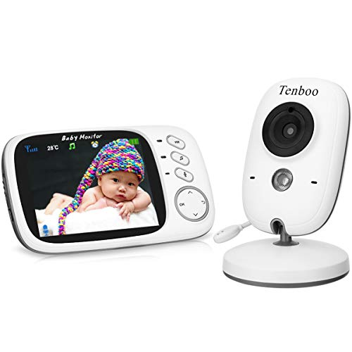 """Babyphone mit Kamera Video Überwachung Baby Monitor Wireless 3.2"""" TFT LCD Digital dual Audio Funktion,Temperatursensor, Schlaflieder, Nachtsicht, Gegensprechfunktion"""