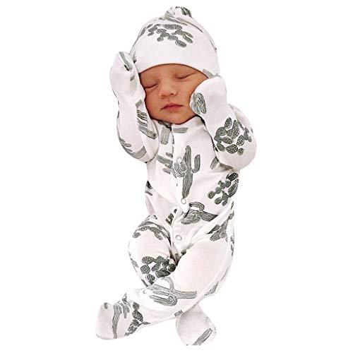 Weant Baby Strampler Mädchen 0-6 Monate Winter Langarm Overalls mit Hut Kaktus drucken Fleece Hoodie Bodysuit Jungen Footed Jumpsuit Unisex Set Säugling Spielanzug Baby-Nachtwäsche