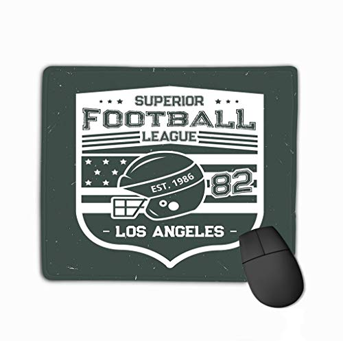 Mouse Pad Football Summer Camp League Print Vintage Grunge Design Rugby Ball Player Helmet American Flag los Rectangle Rubber Mousepad 11.81 X 9.84 Inch