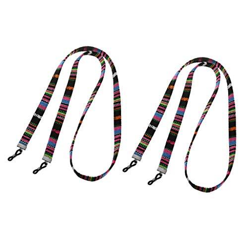 non-brand Baoblaze 2 x Brillen Seil aus Baumwolle Mehrfarbig Strang DIY Schmuck, Brillen Ketten - Schwarz