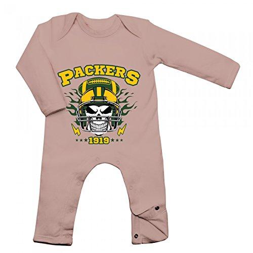 s Skull Babybody American Football Totenkopf Football-Helm Langarm Langärmliger Strampler, Farbe:Babyrosa (Powder Pink BZ13);Größe:6-12 Monate ()