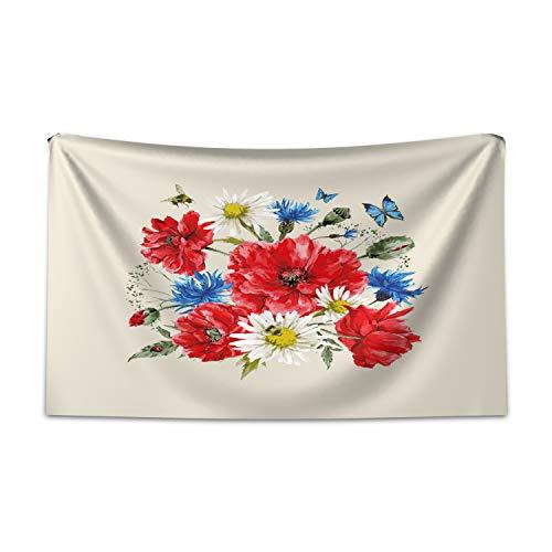ABAKUHAUS Blumen Wandteppich und Tagesdecke, Vintage Mohn Gänseblümchen aus Weiches Mikrofaser Stoff Kein Verblassen Klare Farben Waschbar, 230 x 140 cm, Mehrfarbig -