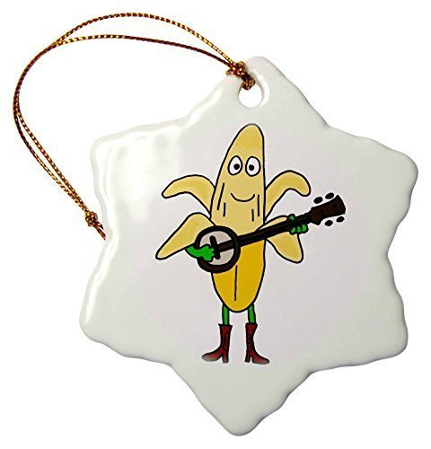 Christmas Gifts Funny gelb Banana spielt die Banjo Cartoon Weihnachts Porzellan Decor Schneeflocke Ornament Home Dekorationen Aufhängen Crafts