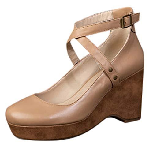 Vintage Damen Damen High Heels geschlossene Zehe Leder mit mittleren Abstzen Keile Schnalle Knchel Kreuzgurt Plateauschuhe Mode runde Zehen Blockabsatz Sandale Grße 4 5 6 7 8 (Mittlere Keile Schuhe Für Frauen)