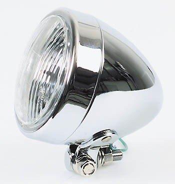 Scheinwerfer Chrom BULLET 90mm H4, untere Befestigung - Für Roller Scheinwerfer