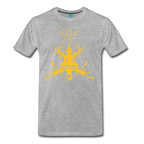 Spreadshirt Buddha Buddhismus Meditation Hinduismus Thailand Männer Premium T-Shirt, L, Grau meliert