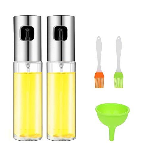 Cozywind 2 PCS Ölspender Essig- und Ölsprüher Set Öl Sprayer Flasche mit 2 Öl Bürsten und 1 Trichter,Silber/Transparent mit Edelstahl Pumpsprühkopf