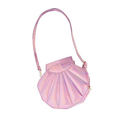 Miaomiaogo Borsa a tracolla della borsa del messaggero del messaggero della borsa del corpo del sacchetto del corpo del cuoio dell'unità di elaborazione a forma di Shell rosa
