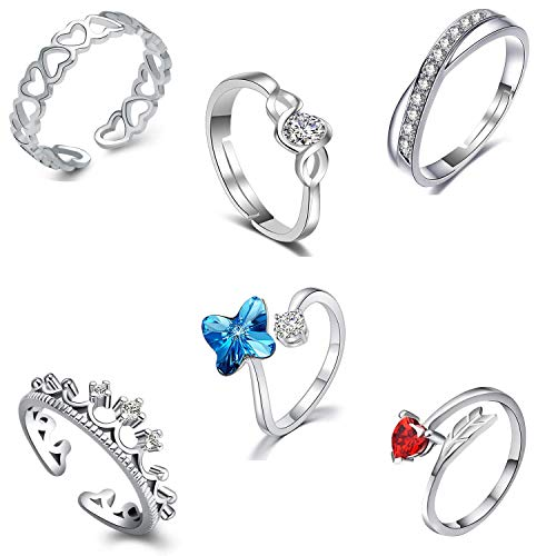 Om Jewells Cz Jewellery Combo of 6 Rhodium Plated Brass Red Adjustable Party Wear Finger Rings Crafted for Women