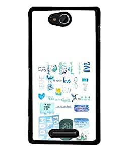 FUSON Designer Back Case Cover for Sony Xperia C S39h :: Sony Xperia C C2305 (Green Background Quote Love Heart Messages Crazy Express Sorry )