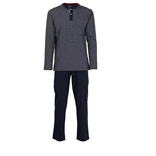 TOM TAILOR Herren Pyjama, Schlafanzug, Shirt und Hose, Langarm, Baumwolle, Single Jersey, blau gestreift 54