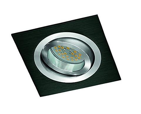 CristalRecord Helium - Recessed Lighting Kit, Square, Bulb Screw and GU10 7W 4200 K Bulb, Neutral Light, Black