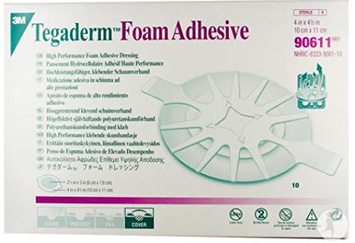 3M Tegaderm Foam Adhesive Dressing - 4 x 4-1/2 Oval Pad - Box of 5 by 3M -