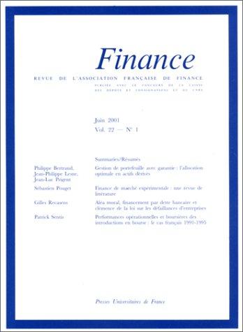 Revue de l'association française de finance, volume 22, numéro 1, juin 2001