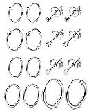 Sailimue 8 Paires de Boucles d'oreilles en Acier Inoxydable pour Hommes Femmes sans...