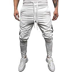 Bestow Costura Casual para Hombres Bolsillos y pies de Color sólido  Pantalones Deportivos Pantalones para Hombres f69d57014ea