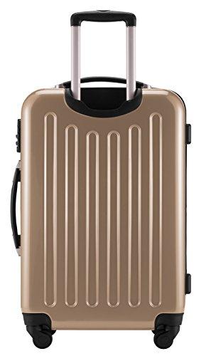 HAUPTSTADTKOFFER® 2er Hartschalen Kofferset · Handgepäck 42 Liter (55 x 35 x 19 cm) + Koffer 74 Liter (65 x 41 x 26 cm) · Hochglanz · Zahlenschloss · WALDGRÜN Champagner