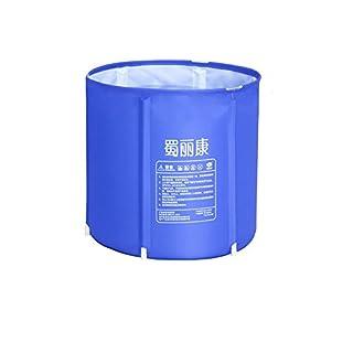 MBJZ Adult folding bath bucket thick inflatable bath tub bath barrel bath children plastic buckets bucket bath, deep blue,65*68cm