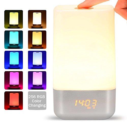 LED Lichtwecker, Lunsy Wake Up Licht Light Nachttischlampe Sonnenaufgang Uhr Berührungssensor Aufweckleuchte Tischlampe RGB Farbwechsel Atmosphäre Beleuchtung Warmlicht warmweiß
