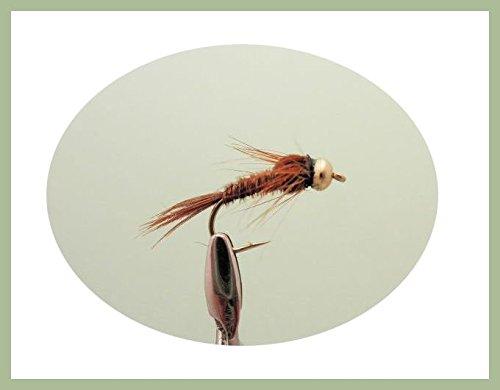 12Stück gold Bead Fasan Schwanz Nymphe Angeln Fliegen, gemischt Größe 10/12/14und 16