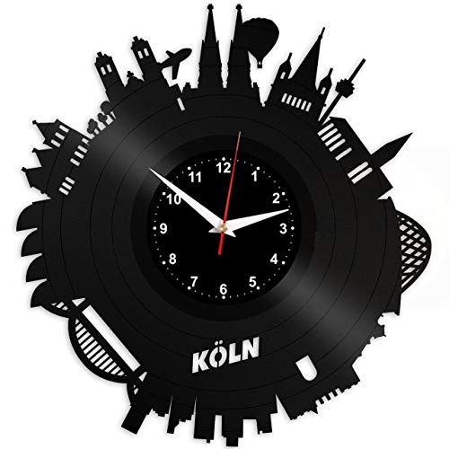 EVEVO Köln Wanduhr Vinyl Schallplatte Retro-Uhr groß Uhren Style Raum Home Dekorationen Tolles Geschenk Wanduhr Köln