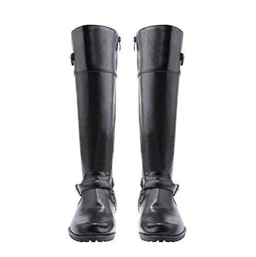 Automne Et Hiver La Nouvelle Mode Cheville Bottes Couleur Sauvage Solide Avec Boucle Longue Bottes Noir