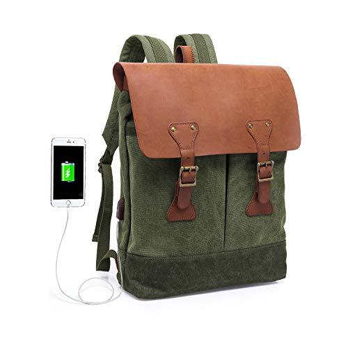 70ba9fce2a57c WindTook Rucksack Canvas Leder Daypack für Uni Reisen Alltag Job mit  Laptopfach   USB Mode 15