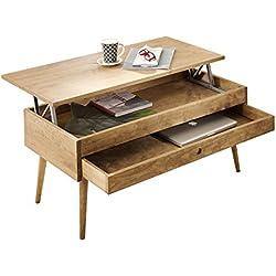 Mesa de centro elevable con cajón deslizante diseño vintage, madera maciza natural